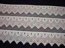 "LOT 18 Yards Vintage Antique Lace Trim Doll Craft Sewing 6"" Wide beige"