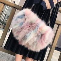 Multi-color Real Fox Fur Purse Clutch Handbag Wallet Phone Pouch Bag