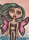 Green GOTHIC FAERY Original 12x9 Pastel Painting Fairy Art Artist KSams Purple
