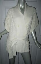 SEE BY CHLOE Ivory Chunky Knit Shawl Collar Belted Sweater Size 12/14 Italy