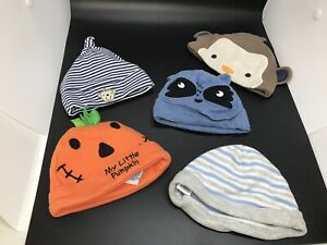 Lot Of 5 Baby Infant Hats Size 0-9 Months, carters, Taggies, Miniwear
