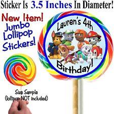 12 Paw Patrol Birthday Party Baby Shower Jumbo Lollipop Stickers Personalized