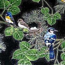 Lovely Birds & Foliage on Black w/ Metallic Silver, Cotton Fabric by Hoffman