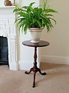 Vintage Antique Solid Wood Tripod Wine Table/Plant Stand - Inlayed Detail to Top