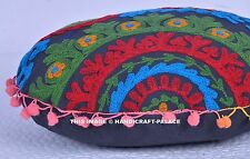 "16"" BLACK ROUND DECORATIVE FLOOR SEATING CUSHION PILLOW COVER Indian Boho Decor"