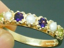 9ct Gold Suffragette Amethyst, Peridot, Pearl Hallmarked Eternity Ring size N
