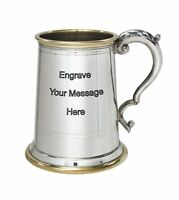 NEW Personalised 1 Pint Wortley Polished Pewter Tankard Any Message Engraved