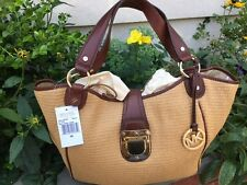 michael kors charlton mocha straw and leather shoulder tote