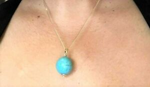 """14k Yellow Gold Pendant  20mm Bold Turquoise Ball Bead Solitaire  1"""" L Gorgeous"""