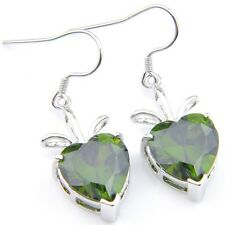 Birthday Gift Gift Love Heart Olive Peridot Gemstone Silver Dangle Drop Earrings