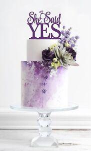 She Said Yes Cake Topper, Wedding Cake Decorations, Bridal Shower, USA