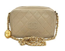 100% Authentic Chanel Vintage Beige Lambskin Quilted Camera Style Handbag