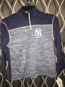 NY New York Yankees Boys Size Small 1/4 Zip Lightweight Pullover Jacket