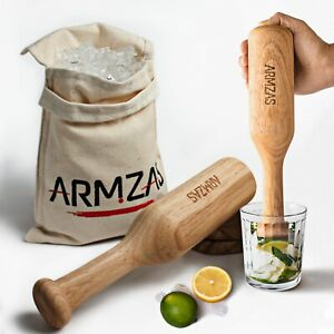 Lewis Bag and Ice Mallet, 2 Pc. Set, Wood Cocktail Muddler and Crusher