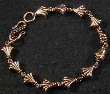 """Pure Copper Fan Scallop Bead Link Chain Bracelet 7 1/2"""" inside closed 8 1/4"""""""