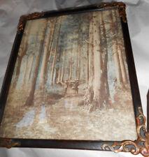 Vintage Framed Japanese Tinted Albumen Photo Men Carrying Woman Litter In Woods