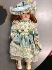 porcelain hand made doll glass eyes Blue Green Red Hair 13 inches New Unique