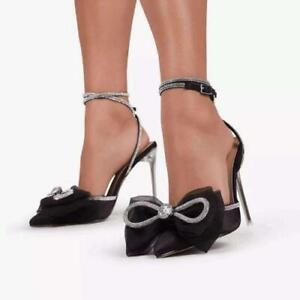 Women Pointy Toe Bowknot Rhinestones Stilettos High Heels Party Evening Shoes