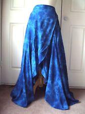 RETRO HIPPY GOTH BOHO FESTIVAL BLUE TIE DYE WRAP LONG SKIRT free size