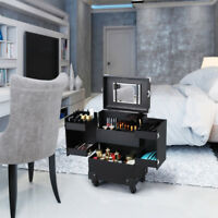 Professional Makeup Trolley Train Case Mirror With Lock & Detachable Wheels