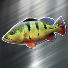 (1) ONE Peacock Bass Fish Decal Sticker Car Boating Boat Fishing Rod Angler New