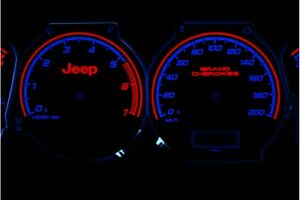 Jeep Grand Cherokee 1999 -2001 design 1 glow gauges dials plasma dials kit tacho