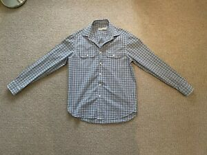 R.M. WILLIAMS BOURKE SHIRT - AQUA/NAVY/WHITE Size M