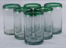 Green Rim Mexican Glasses Hand Blown Tumbler set 6 Glassware Mexico Glass
