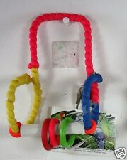 BIRD TOYS SQUISHY LATEX PERCH WITH BELL RINGS SMALL TO MEDIUM PETS 2 COLORS