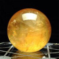40mm Natural Citrine Quartz Crystal Sphere Ball Healing Gemstone