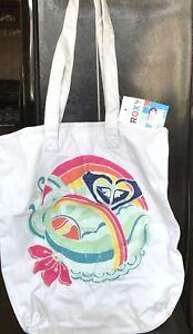 Roxy Large Logo Tote Handbag Hibiscus Logo Design NWT