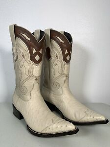 Men's Wild West Smooth Ostrich Boots Bone Genuine Handmade Size 10.5 2950404