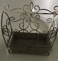 M&S Market Garden wire planter rustic antique style grey/white with FREE P&P