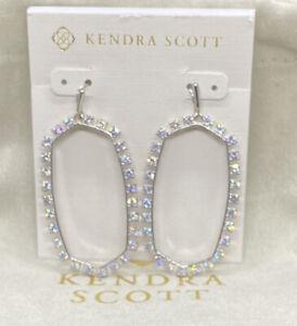 New Kendra  Danielle Silver Open Frame Crystal Statement Earrings