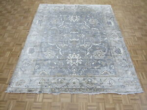 8 x 9'11 Hand Knotted Silver Gray Turkish Bamboo Silk Oushak Oriental Rug G9667