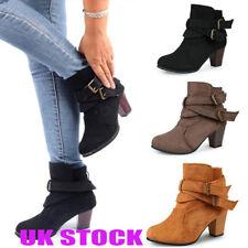 UK Womens Block Heels Ladies Ankle Strap Riding Biker Chelsea Boots Shoes Size