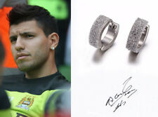 Men's/Boy's: Sergio Aguero Man City 18ct White Gold Plated Crystal Earrings
