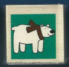 POLAR BEAR scarf Animal Holiday Gift Tag Card NEW Wood Mount Craft RUBBER STAMP