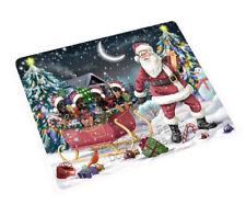 Christmas Santa Doberman Pinscher4 Dogs Tempered Cutting Board Large Db708