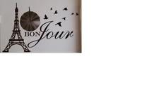 Wandtattoo Motiv Paris, Spruch Bon Jour mit Wanduhr Quarzuhr Eifelturm NEU OVP