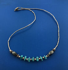 Vintage Sterling Silver 925 Liquid Silver Turquoise Nugget Pyrite Bead Necklace