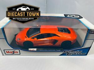 Maisto 1:18 Scale Special Edition Diecast Model - Lamborghini Aventador Orange