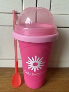 Pink & Red Chillfactor Slushie Slushy Maker Cup, Spoon & Straw