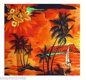 VERY LOUD HAWAIIAN SHIRT, SARONG, SURF, ORANGE, ONE SIZE