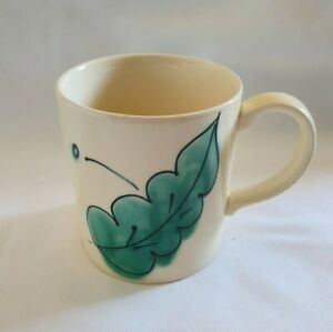 ❀ڿڰۣ❀ POOLE POTTERY Hand Painted GREEN LEAVES Ceramic MUG ❀ڿڰۣ❀ Rare