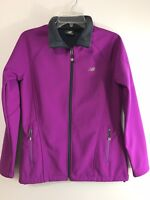 New Balance Womens Small Full Zip Jacket Purple Fleece Lined Zip Pockets L/S
