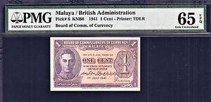 Malaya - British Administration 1941 KGVI One Cent Pick-6 GEM UNC PMG 65 EPQ