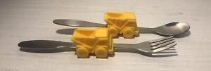 Urban Trends Yellow Dump Truck Spoon Fork Knife Cutlery Set Toddler Baby Kids
