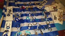 GREEK KEY CHAIN WITH Horse Shoe AND EVIL Eye New from Greece