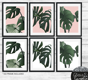 Monstera Tropical Leaf Prints, Gallery Wall Botanical, Blush Pink Wall Art print